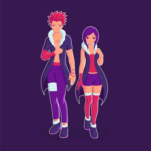 Couple d'illustration de personnage de chasseur de primes
