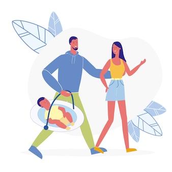 Couple avec illustration vectorielle plane enfant nouveau-né