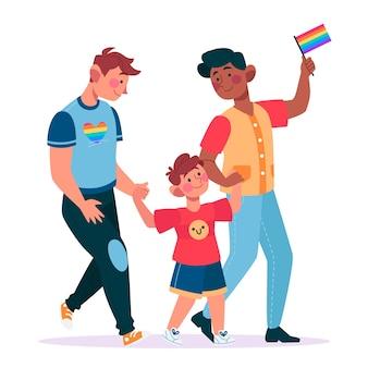 Couple illustré et famille sur le concept de la journée de la fierté