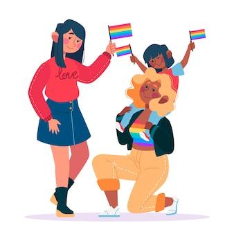 Couple illustré et famille sur la conception du jour de la fierté