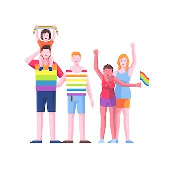 Couple illustré et famille le jour de la fierté