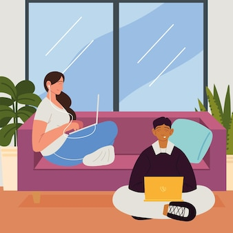 Couple indépendant travaillant à la maison