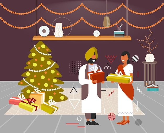 Couple indien donnant des coffrets cadeaux les uns aux autres joyeux noël vacances d'hiver célébration concept salon moderne intérieur pleine longueur illustration vectorielle horizontale