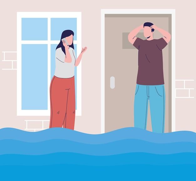 Couple en inondation