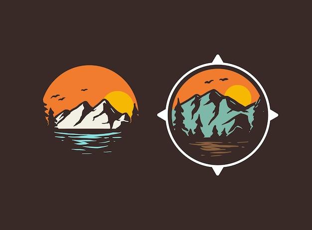 Un couple d'insigne de logo d'aventure