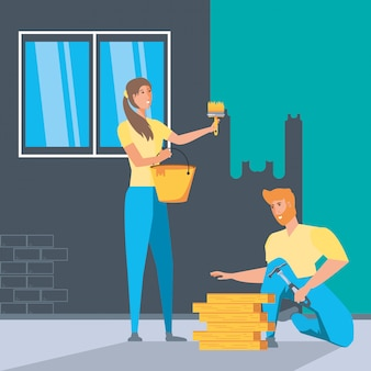 Couple à l'intérieur de la maison en construction