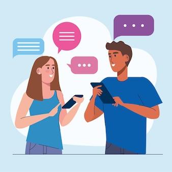 Couple interracial à l'aide de conception d'illustration de technologie de smartphones
