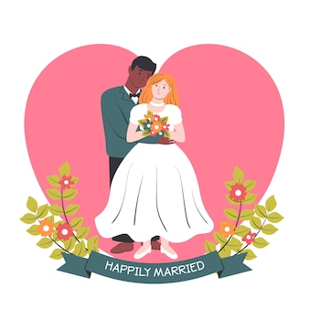 Couple interracial mariage dessiné à la main