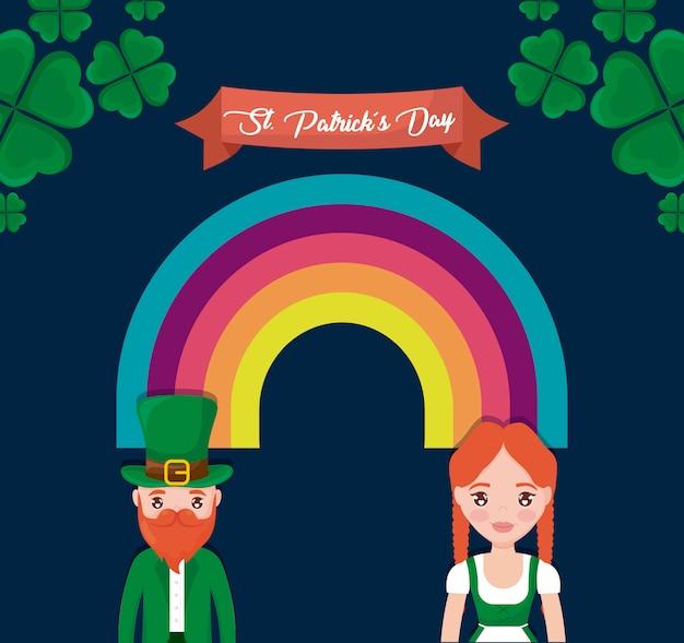 Couple irlandais avec arc-en-ciel du jour st patrick