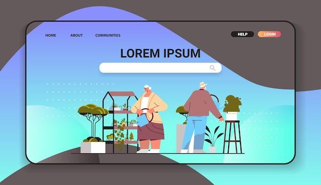Couple de jardiniers seniors prenant soin des plantes et des fleurs en pot dans une serre ou un jardin domestique pleine longueur horizontale copie espace illustration vectorielle