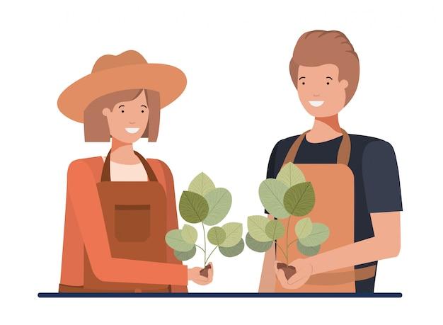 Couple de jardiniers souriant personnage avatar