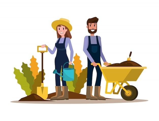 Couple de jardiniers.