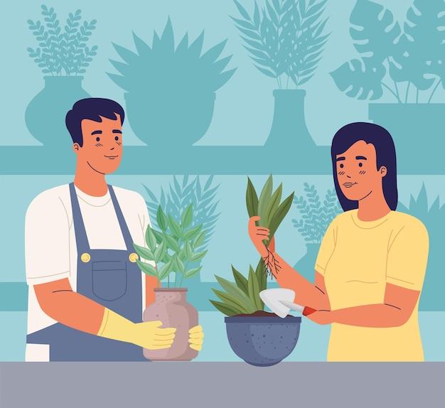 Couple De Jardiniers Vecteur Premium