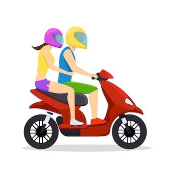 Couple de jeune homme et femme à cheval sur scooter. symbole de transport, cyclomoteur et moto.