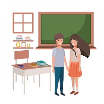 Couple de jeunes étudiants en classe