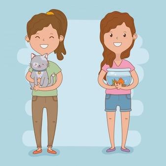 Couple de jeunes femmes avec des mascottes mignonnes