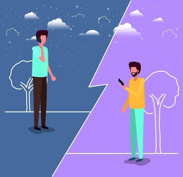 Couple de jeunes hommes à l'aide de smartphone