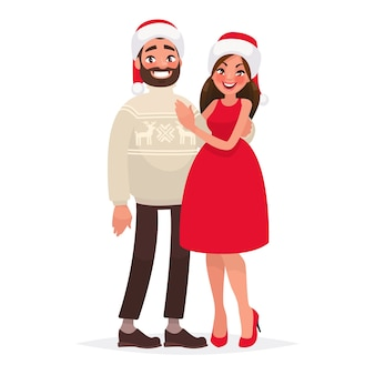 Couple de jeunes le jour de noël