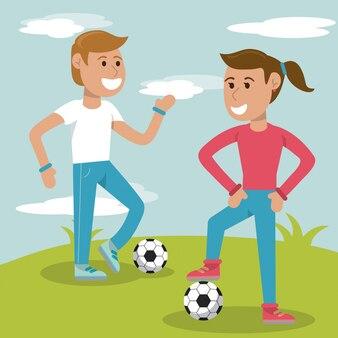 Couple de jeunes pratiquant le sport de football