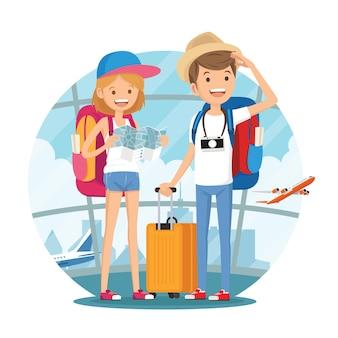 Couple de jeunes voyageurs