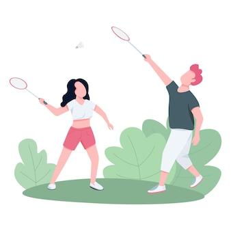 Couple jouant au badminton à l'extérieur des personnages sans visage de vecteur de couleur plat.