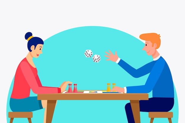 Couple jouant au jeu de ludo