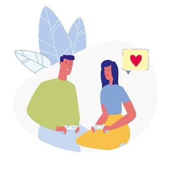Couple jouant à des jeux d'ordinateur illustration vectorielle