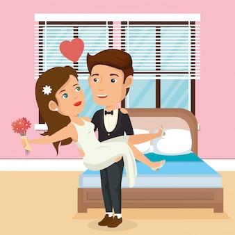 Couple juste marié dans la chambre