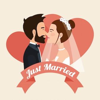Couple juste marié embrasser des personnages d'avatars