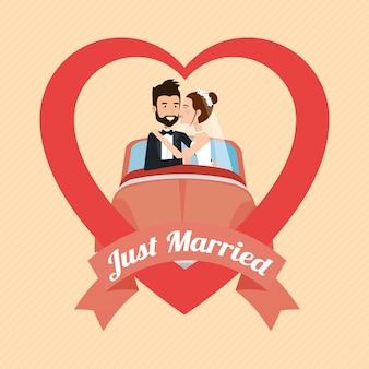 Couple juste marié avec personnages d'avatars de voiture
