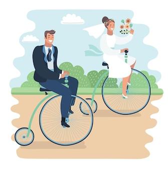 Couple juste marié sur des vélos rétro