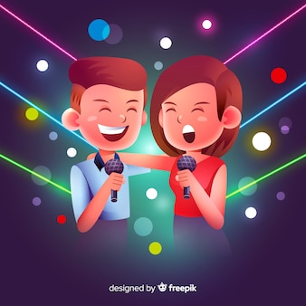 Couple de karaoké