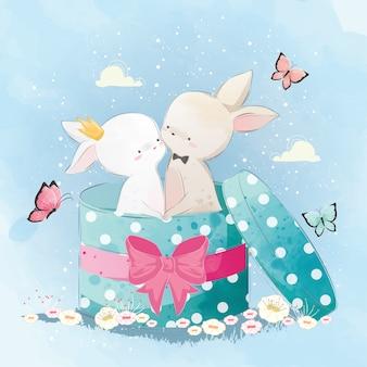 Couple lapin dans la boîte surprise