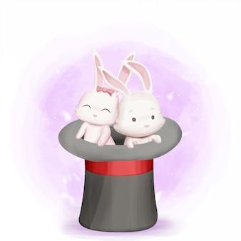 Couple de lapin à l'intérieur du chapeau de magicien faisant des tours de magie