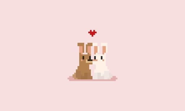 Couple de lapin pixel avec coeur rouge. la saint valentin.