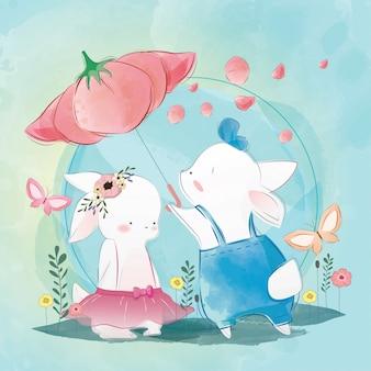 Couple lapin sous fleur parapluie