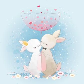 Couple de lapin sous la pluie d'amour