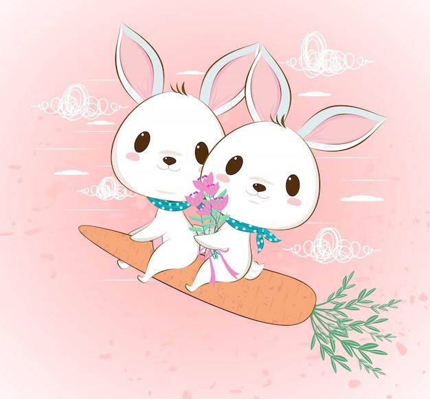 Couple de lapin volant mignon sur carotte