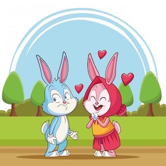 Couple de lapins amoureux