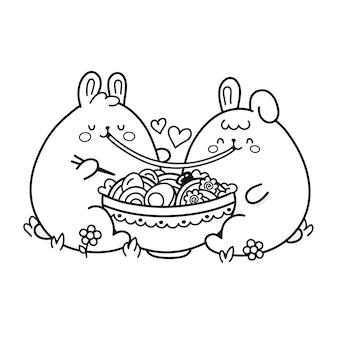 Un couple de lapins drôles et heureux mignons mange des ramen dans un bol. vector doodle coloriage dessin animé kawaii personnage illustration icône design. couple de lapin dans la page d'amour pour livre de coloriage. isolé sur fond blanc