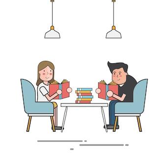 Couple, lecture, livres