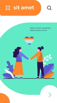Couple de lesbiennes avec coeur arc-en-ciel