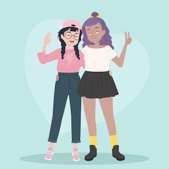 Couple de lesbiennes design plat en amour illustré
