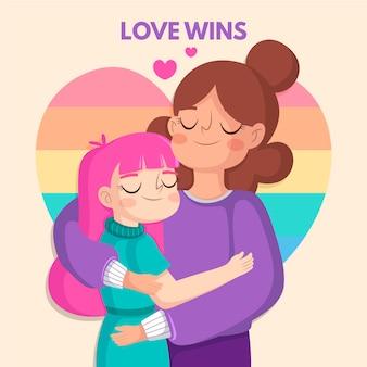 Couple de lesbiennes design plat avec drapeau lgbt illustré