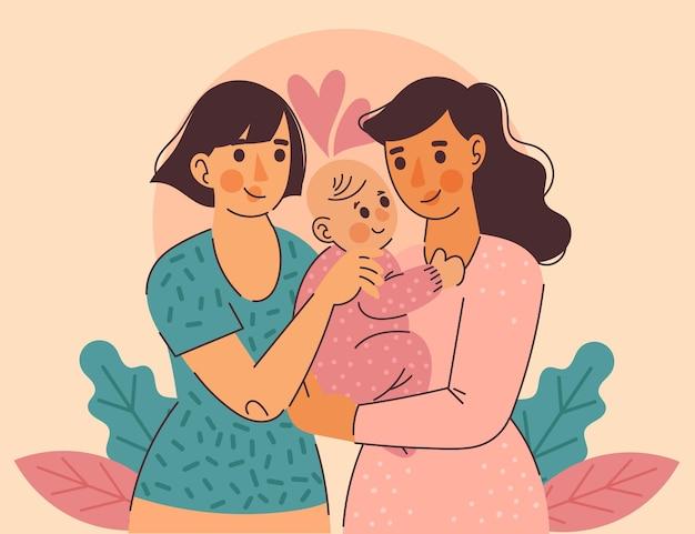 Couple de lesbiennes design plat avec leur enfant