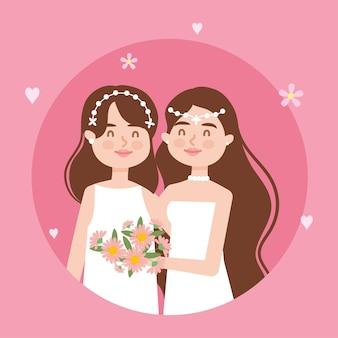 Couple de lesbiennes de dessin animé
