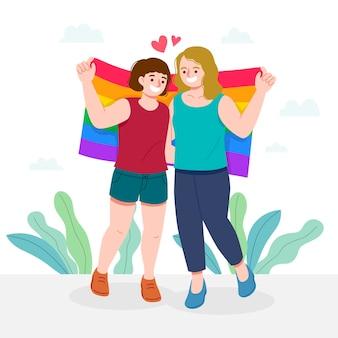 Couple de lesbiennes avec drapeau lgbt illustré