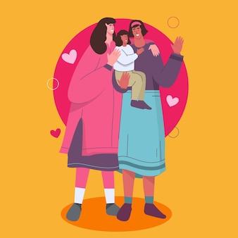 Couple de lesbiennes avec un enfant illustré