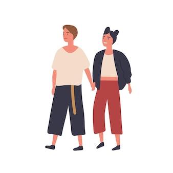 Couple de lesbiennes main dans la main illustration vectorielle plane. jeunes femmes heureuses marchant ensemble des personnages de dessins animés. copines joyeuses, amants en balade. élément de conception de relation homosexuelle.