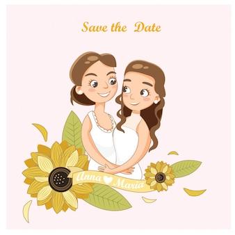 Couple de lesbiennes de mariage dans la carte d'invitations de mariage
